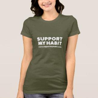 Support My Habit: Ladies Petite TShirt, Brown T-Shirt