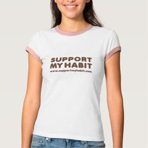 Support My Habit: Ladies Ringer TShirt, Pink T-Shirt