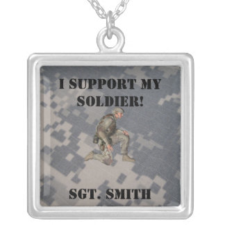 Support My Soldier, Personalize Silver Plated Necklace