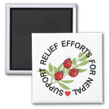Support Nepal Earthquake Relief 2 Inch Square Magnet