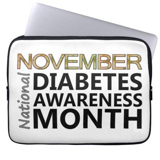 Support November National Diabetes Awareness Month Laptop Sleeves