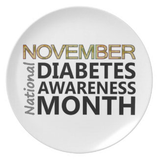 Support November National Diabetes Awareness Month Party Plate