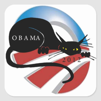 SUPPORT OBAMA CAT LOVERS SQUARE STICKER