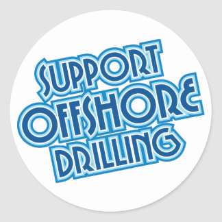 Support Offshore Drilling Round Stickers