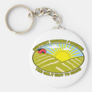 Support Organic Farming Basic Round Button Keychain