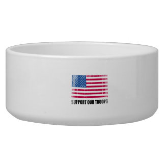 Support our troops (2) Faded.png Dog Food Bowl