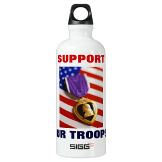 SUPPORT OUR TROOPS! ALUMINUM WATER BOTTLE