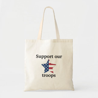 """""""Support our troops"""" American Flag Tote Bag"""