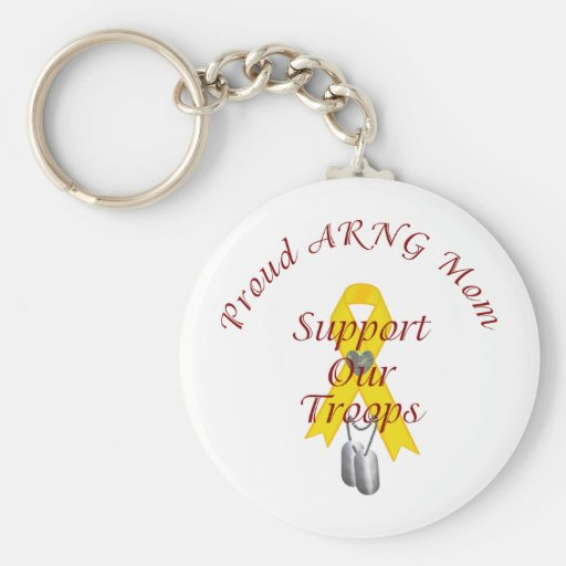 Support Our Troops ARNG Mom (Yellow Ribbon) Key Chains