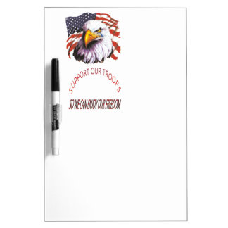 Support Our Troops Bald Eagle With A Tear USA Flag Dry-Erase Board