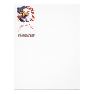 Support Our Troops Bald Eagle With A Tear USA Flag Letterhead