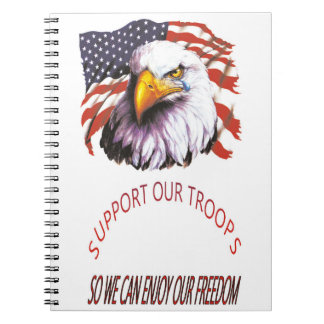 Support Our Troops Bald Eagle With A Tear USA Flag Note Books