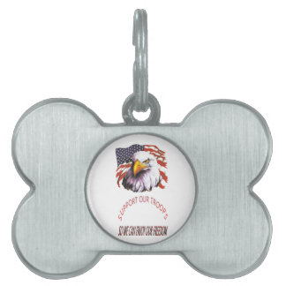 Support Our Troops Bald Eagle With A Tear USA Flag Pet Name Tags