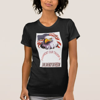 Support Our Troops Bald Eagle With A Tear USA Flag T-Shirt