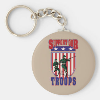 Support Our Troops Basic Round Button Keychain