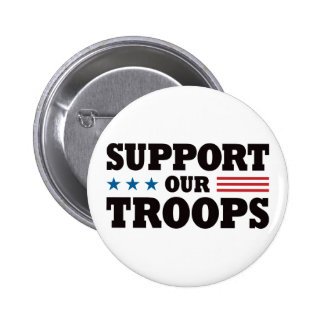 Support Our Troops - Black Button