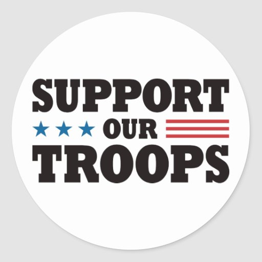 Support Our Troops - Black Classic Round Sticker