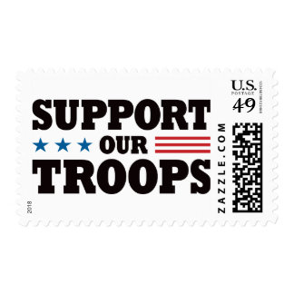 Support Our Troops - Black Postage Stamp