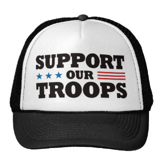 Support Our Troops - Black Trucker Hat