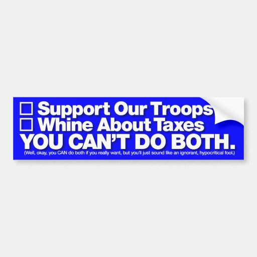 """""""Support Our Troops"""" Bumper Sticker, White on Blue"""