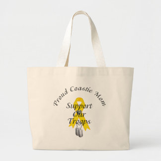 Support Our Troops Coastie Mom 2 (Yellow Ribbon) Jumbo Tote Bag