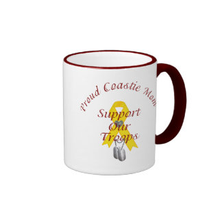 Support Our Troops Coastie Mom (Yellow Ribbon) Ringer Mug