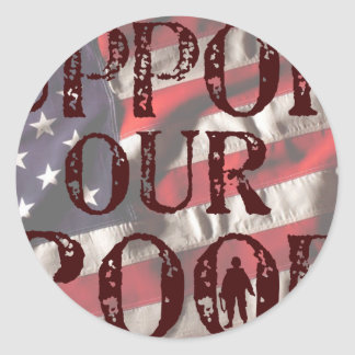 support our troops copy round stickers