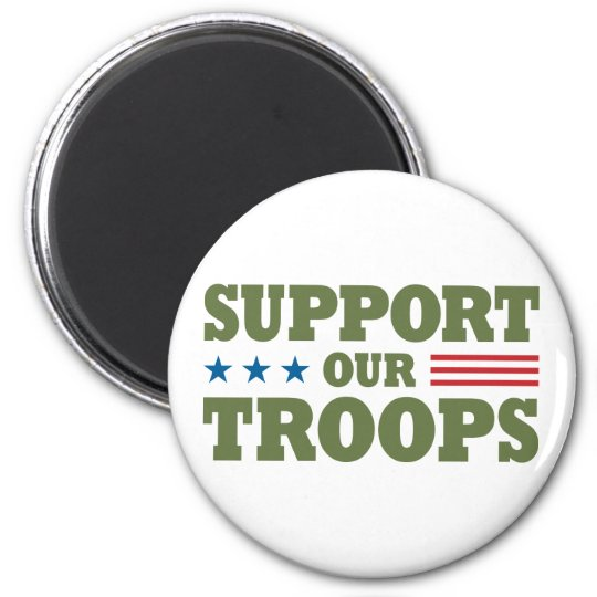 Support Our Troops - Green Magnet