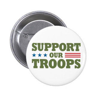 Support Our Troops - Green Pinback Button
