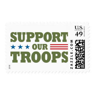 Support Our Troops - Green Postage Stamp