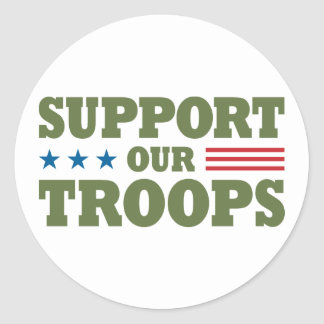 Support Our Troops - Green Round Sticker