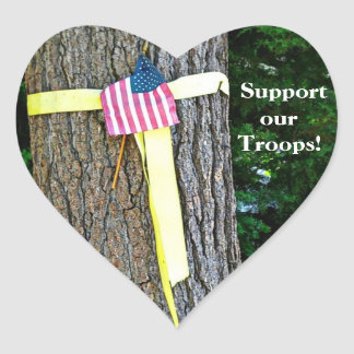 Support Our Troops Heart Sticker - Yellow Ribbon