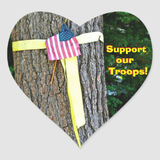 Support Our Troops Heart  Yellow Ribbon Round Tree Heart Sticker