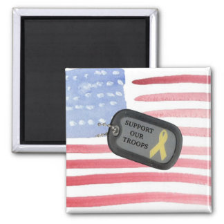 Support Our Troops 2 Inch Square Magnet