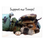 Support our troops Military boxer postcard