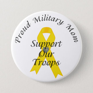 Support Our Troops Military Mom 2 (Yellow Ribbon) Button