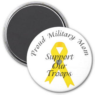 Support Our Troops Military Mom 2 (Yellow Ribbon) Magnet
