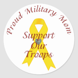 Support Our Troops Military Mom (Yellow Ribbon) Classic Round Sticker