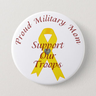 Support Our Troops Military Mom (Yellow Ribbon) Pinback Button