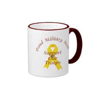 Support Our Troops Military Mom (Yellow Ribbon) Ringer Mug