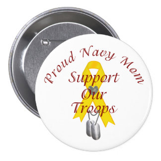 Support Our Troops Navy Mom (Yellow Ribbon) Button