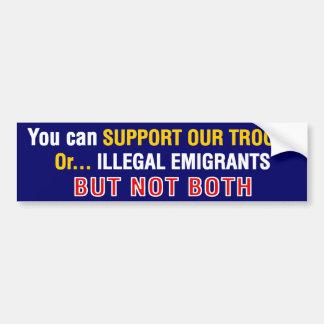Support-Our-Troops_Or-Illegals parachoque Etiqueta De Parachoque
