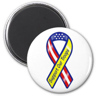 Support Our Troops Ribbon 2 Inch Round Magnet