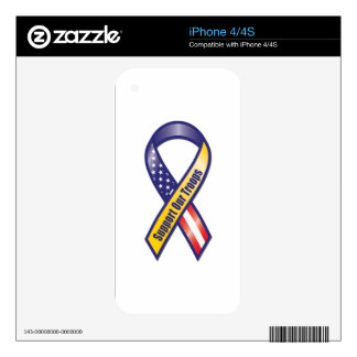 Support Our Troops Ribbon Decals For iPhone 4S