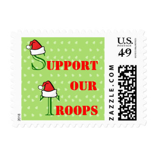 Support Our Troops Santa Hat and Christmas Trees Postage Stamp