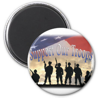 Support Our Troops Soldiers 2 Inch Round Magnet