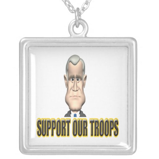 Support Our Troops Speech Square Pendant Necklace