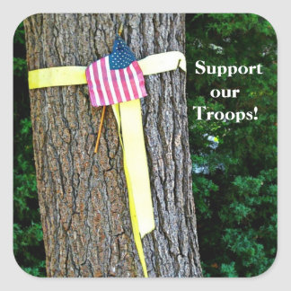 Support Our Troops Square Yellow Ribbon and Tree Square Stickers