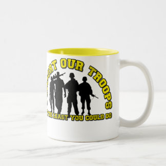 Support Our Troops! Two-Tone Coffee Mug