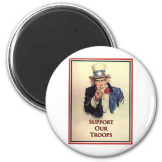 Support Our Troops Uncle Sam Poster 2 Inch Round Magnet